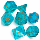 Teal & Gold Borealis Polyhedral 7 Dice Set